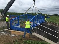 Pedestrian bridge installed on Licking River Greenway