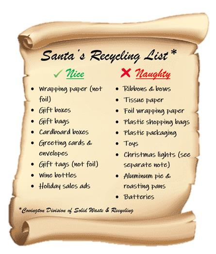 Covington holiday garbage, recycling schedules